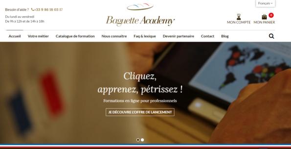 page d'accueil Baguette Academy