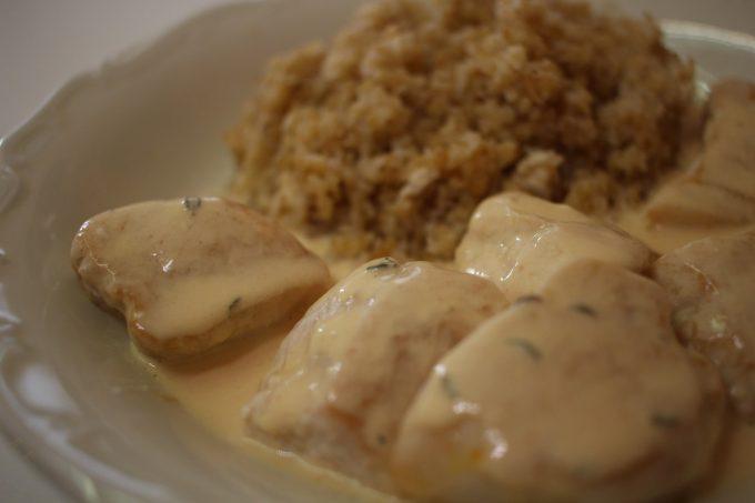 poulet sauce safran thym