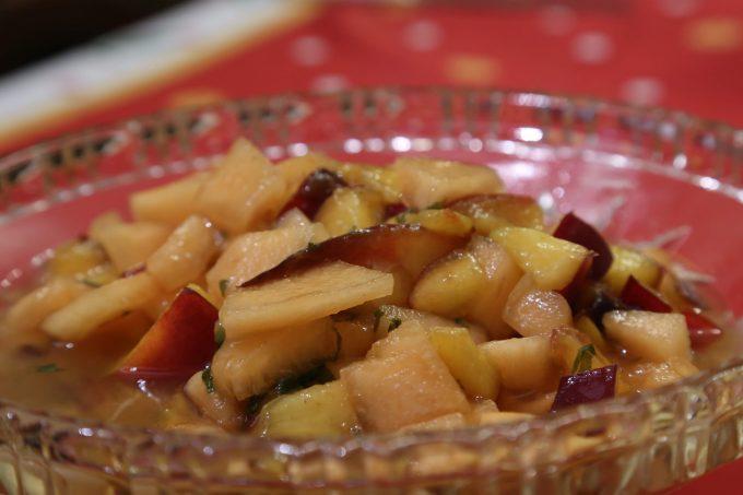 melon et nectarine infuses au basilic