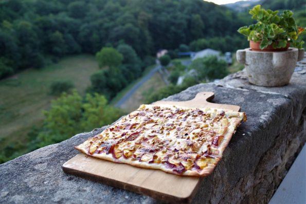 pizza pêche et nectarine