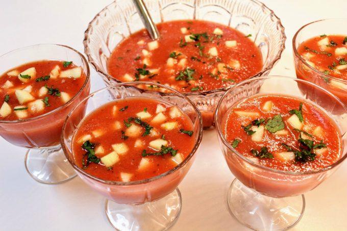 soupe de pastèque et fraises