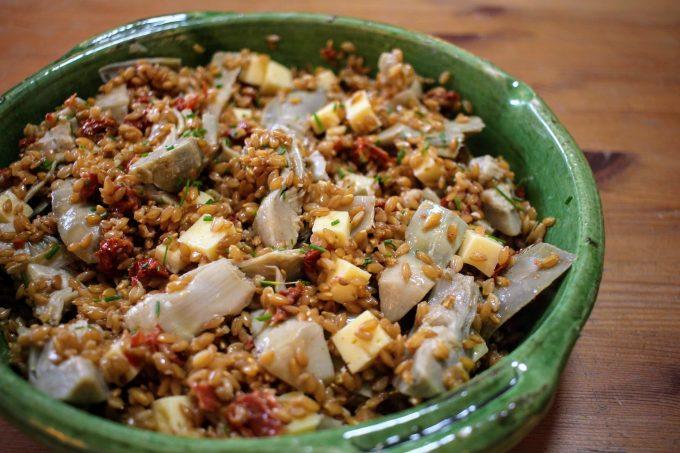 salade de petit épeautre aux artichauts