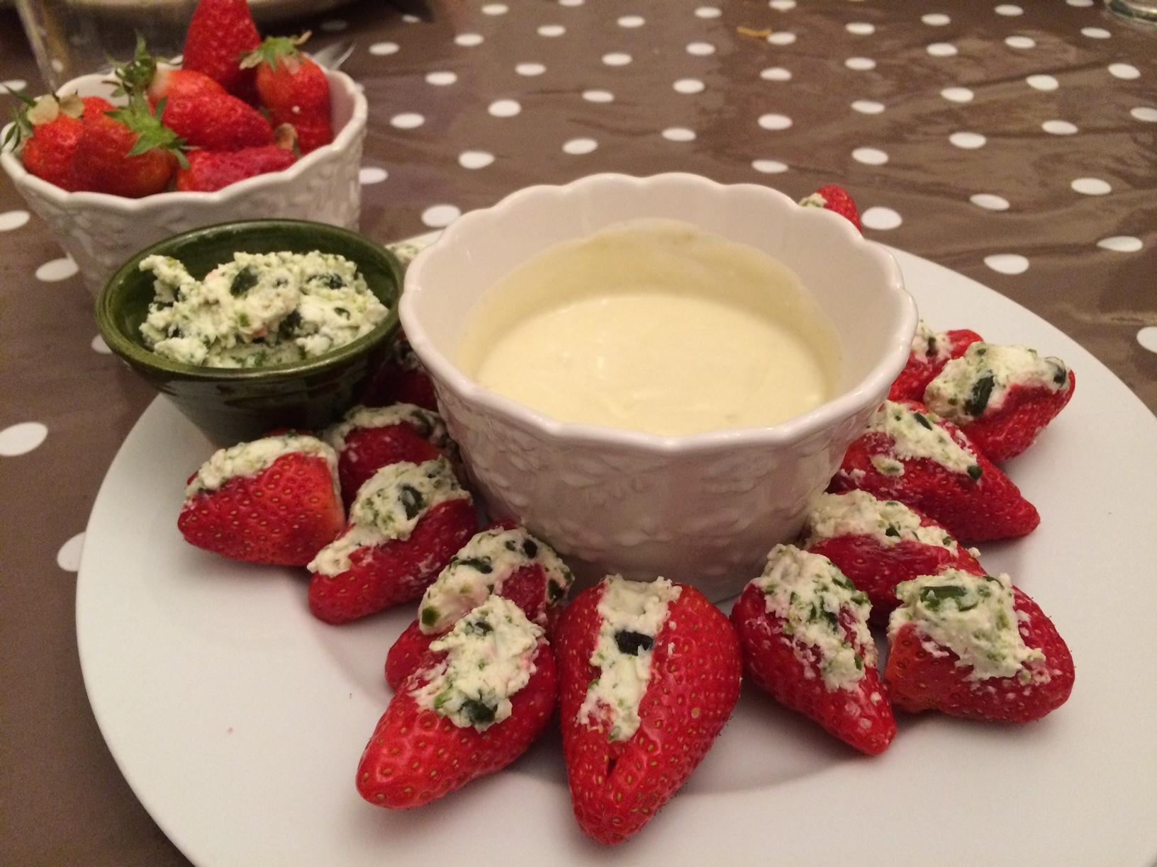 fraises farcies chèvre pistache