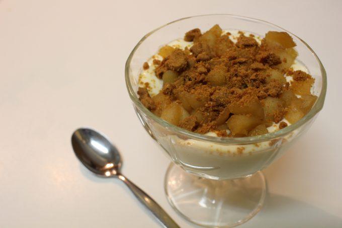 mousse fromage blanc pommes caramélisées