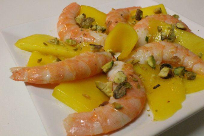 carpaccio mangue crevettes pistache