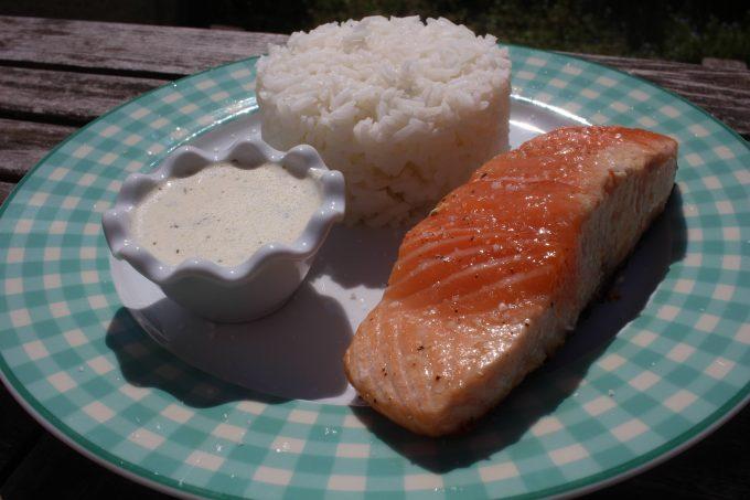 saumon cuit à l'unilatéral