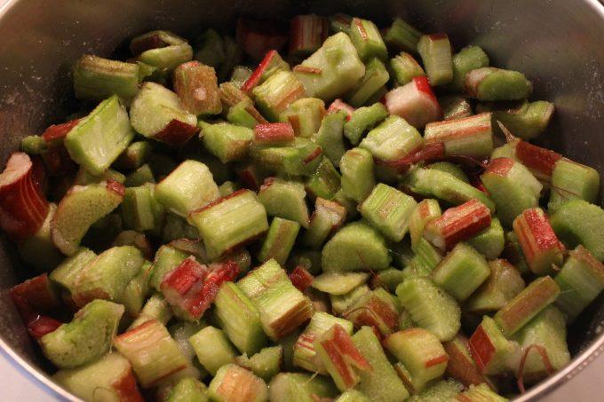 compote de rhubarbe avant cuisson